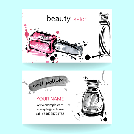 fashion illustration: watercolor illustration. Business card. Beauty saloon. Fashion.