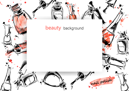 abstract banner with nail polish. Beauty and fashion. Watercolor.