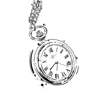 resumen ilustración de un reloj de bolsillo con una cadena. El estilo de negocios. Moda de hombres. Negocio. Aislar sobre fondo blanco.