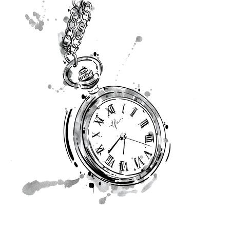 체인에 회중 시계의 추상 그림. 비즈니스 스타일. 남자의 패션. 사업. 흰색 배경에 격리합니다. 일러스트