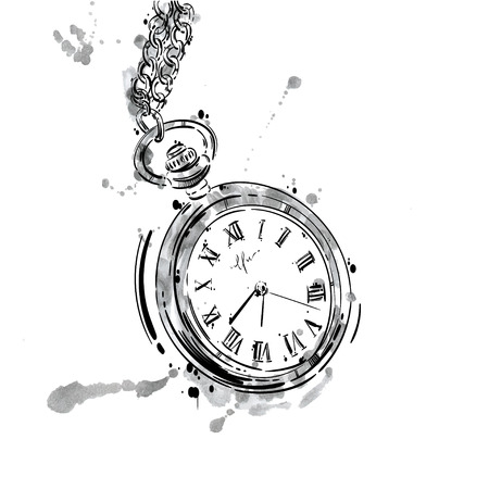 abstract illustration of a pocket watch on a chain. Business style. Mens fashion. Business. Isolate on white background.