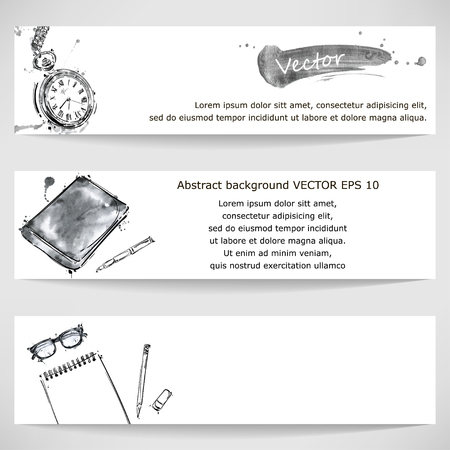 watercolor pen: Watercolor banner clock, glasses, notepad, pen and pencil. Business and Finance. Workplace