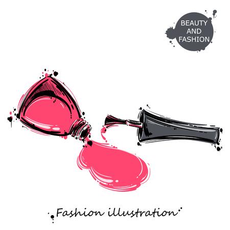 nail polish: illustration of nail polish. Fashion illustration. Beauty and fashion.