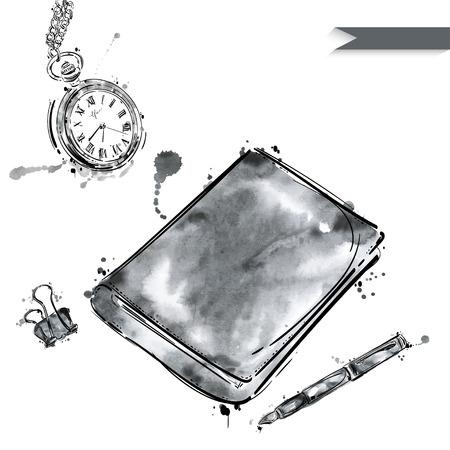 un conjunto de herramientas de trabajo: Cuaderno, lápiz, un clip, un reloj de bolsillo. Mesa de oficina. Negocio. Aislado en el fondo blanco.