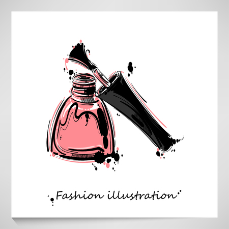 illustration of nail polish. Fashion illustration. Beauty and fashion.