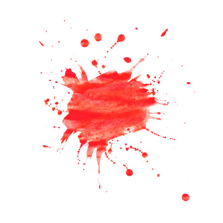 Watercolor background. Red splashes and blots on a white background for your design. Colour.