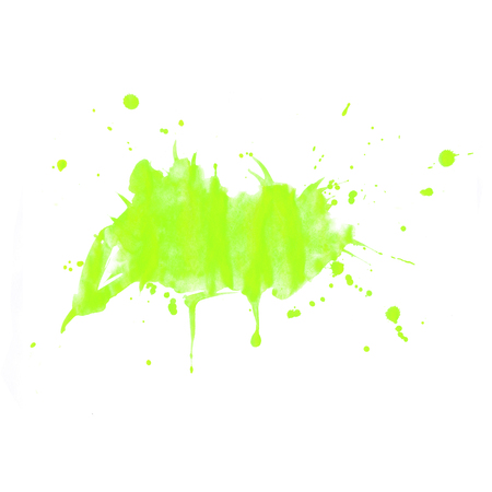 Watercolor background. Green splashes and blots on a white background for your design. Colour.