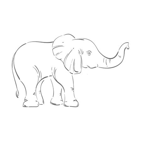 Resumen ilustración de un elefante. Bosquejo. La ilustración sobre un fondo blanco. Aislado. Animal. Naturaleza salvaje. Ilustración de vector