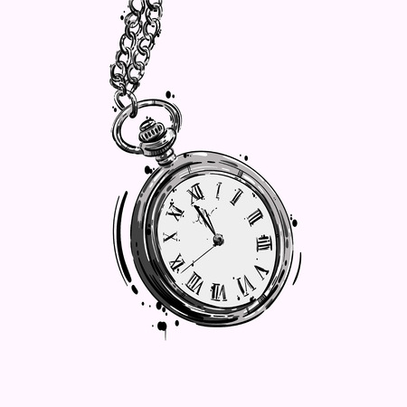 Vector abstract illustration of a pocket watch on a chain. Business style. Mens fashion. Business. Isolate on white background.