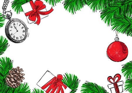 Abstract vector background with fir branches, Christmas ball, pocket watches, fir cones and gifts. Christmas background for your design.