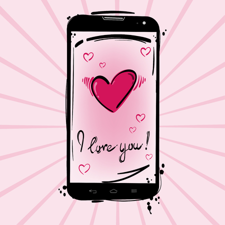 Vector illustration of a mobile phone and a heart design greeting vector vector illustration of a mobile phone and a heart design greeting card on valentines day m4hsunfo