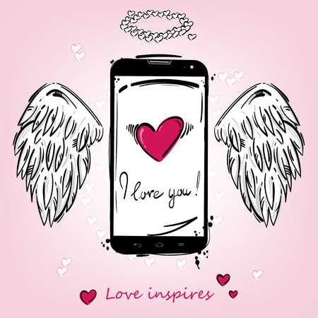 mobilephone: Vector background: Love inspires! Abstract illustration of a mobile phone, insertions and wings for design cards, banners, posters. Illustration