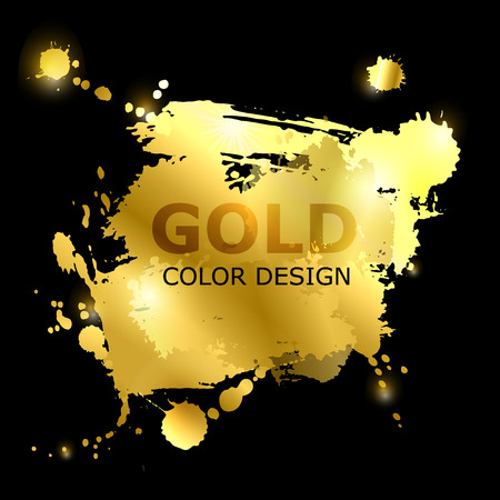 Vector abstract background with golden paint strokes. Gold style. Fashionable glamorous element for your design of postcard, magazine, poster, banner Stock Vector - 80441342