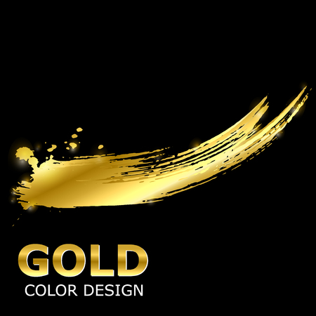 Vector abstract background with golden paint strokes. Gold style. Fashionable glamorous element for your design of postcard, magazine, poster, banner