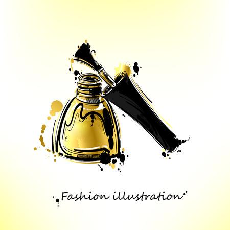 Vector illustration of golden nail polish. Gold style.  Fashion illustration. Beauty and fashion.