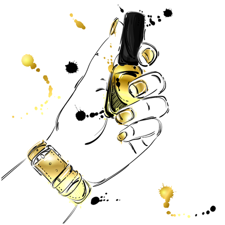 Vector abstract illustration of nail polish in a female hand. Beauty and fashion. Manicure. Beauty salon. Glamorous fashion illustration. Gold style.