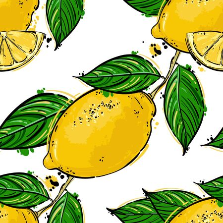 proper: Seamless vector abstract pattern with lemons. Background for the design of wallpaper, fabric and other.