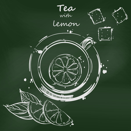 magazine design: Vector abstract illustration with a cup of tea, a slice of lemon and cubes of sugar. Blackboard. Background for your design menu, postcard, banner, magazine and others.