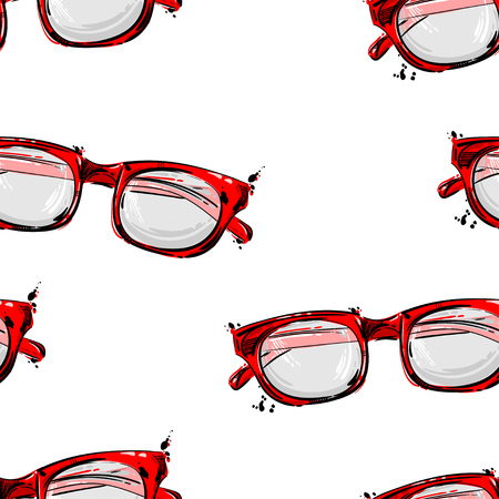 rim: Vector abstract seamless pattern with sunglasses with a red rim. Fashion illustration. Beauty and fashion.