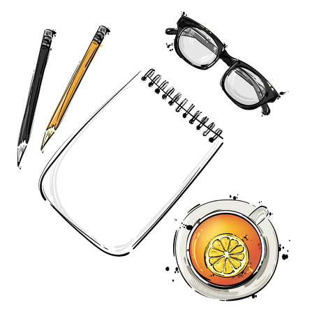abstract illustration with a notebook, glasses for sight, pencil and a mug of tea. An isolated background for the design of a banner, poster, billboard, advertisement, postcard. Illustration