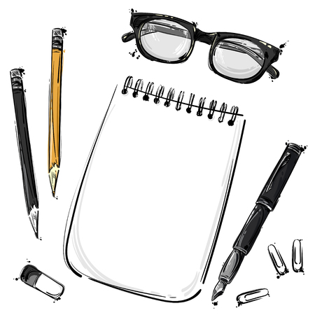 abstract illustration with a notebook, glasses for sight, pencil, pen, eraser and paper clips. An isolated background for the design of a banner, poster, billboard, advertisement, postcard.