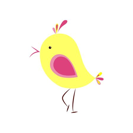 abstract illustration on white background. Funny birds.  Flat style. Funny animals.