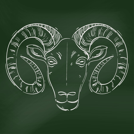 prediction: Vector abstract illustration of a ram. Aries. Horoscope. Animals. Blackboard.