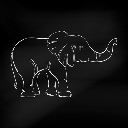 leccion: Abstract illustration of an elephant. Sketch. The illustration on a white background. Blackboard.Animal. Wild nature. Vectores