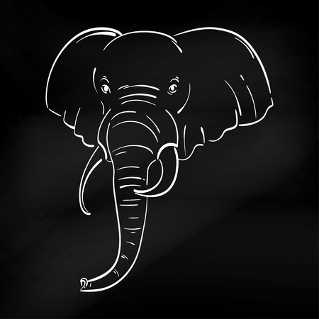Abstract illustration of an elephant. Sketch. The illustration on a white background. Blackboard.Animal. Wild nature. Illustration