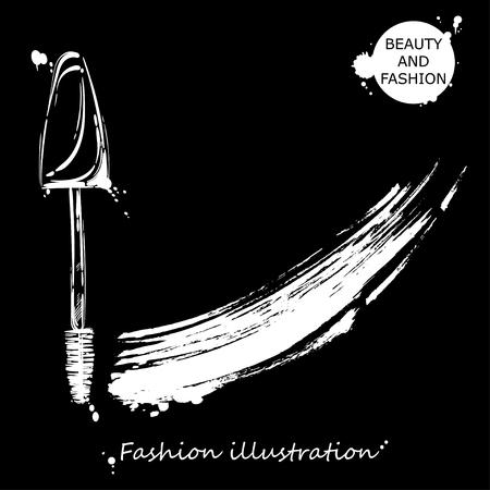 Vector illustration of mascara. Fashion illustration.