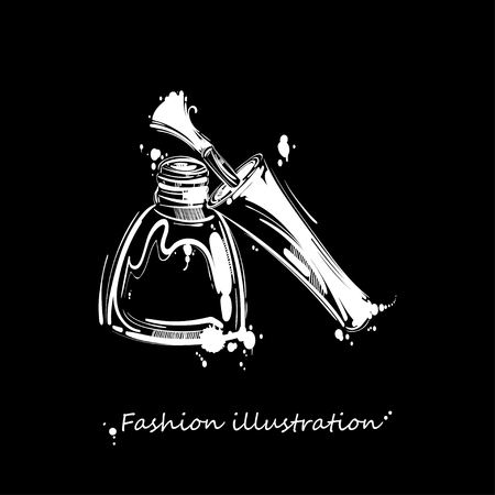 Vektorabbildung des Nagellacks. Modeillustration. Abstrakte Abbildung auf einem schwarzen Hintergrund. Standard-Bild - 85536814
