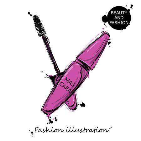 Vector illustration of mascara. Fashion illustration. Isolated.