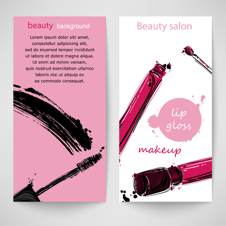 gloss: Vector abstract background with mascara and lip gloss. Vertical banners. Fashion illustration.