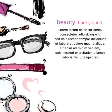 Vector abstract background with lip gloss, mascara, powder, sunglasses. Fashion illustration. Illustration