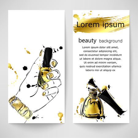 Vector abstract illustration with nail polish. Gold style. Background for banner design, flyers, advertising and other. Fashion illustration. Vetores
