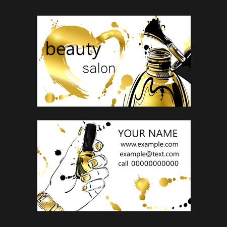 Business card of beauty salon. Gold style. Fashion illustration.