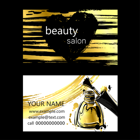 Business card of beauty salon. Gold style. Fashion illustration. Vetores