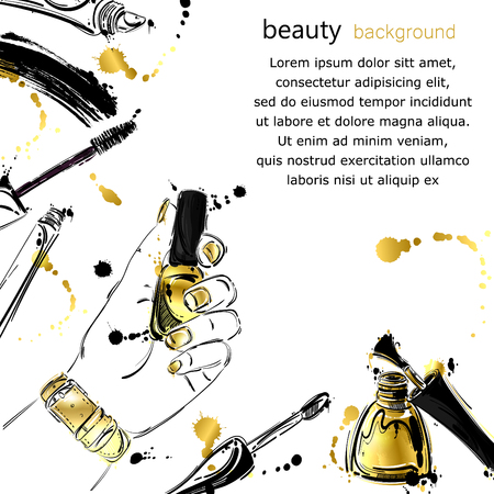 Vector abstract illustration with nail polish, mascara, lip gloss. Gold style. Background for the design of a banner, leaflets, postcards, posters, magazines, advertisements and other. Fashion illustration.