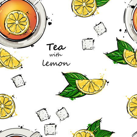 Vector abstract illustration with a mug of tea and lemon slices. Seamless pattern. Ilustração