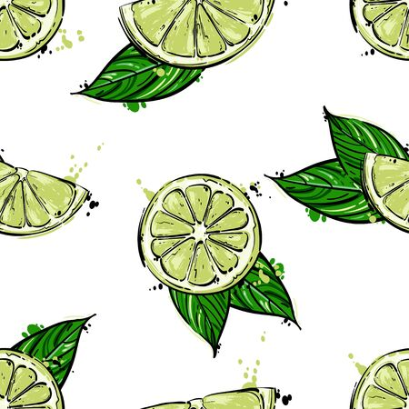 Vector abstract illustration with lime. Seamless pattern. Juicy fruit.
