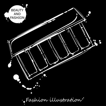 Vector abstract illustration with eyeshadow. Fashion illustration.