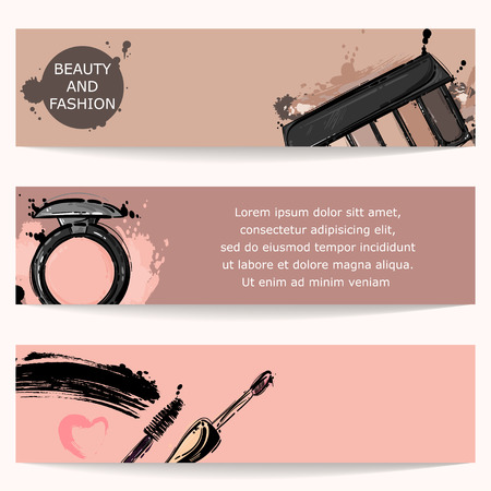 Vector abstract background with lip gloss, mascara, eye shadow. Horizontal banners. Fashion illustration. Imagens - 85873871