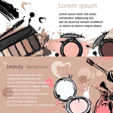 Vector abstract background with lip gloss, nail polish, powder, eye shadow, mascara. Horizontal banners. Fashion illustration. Imagens - 85873873
