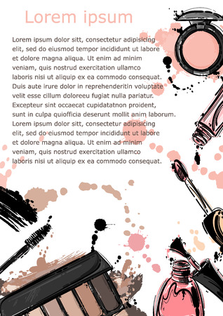 Vector abstract background with glitter for lips, nail polish, eye shadow, mascara. Fashion illustration. Company form.