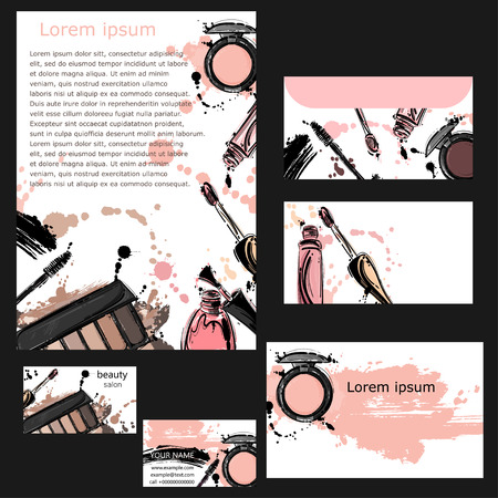 Corporate style of beauty salon, cosmetics store. Company letterhead, business card, envelope, form. Vector abstract background with eye shadow, mascara, lip gloss, nail polish. Fashion illustration. Template.