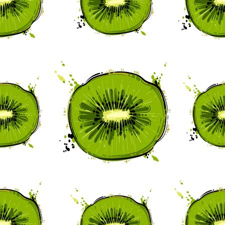 Seamless vector abstract pattern with kiwi. Background for the design of wallpaper, fabric and other.