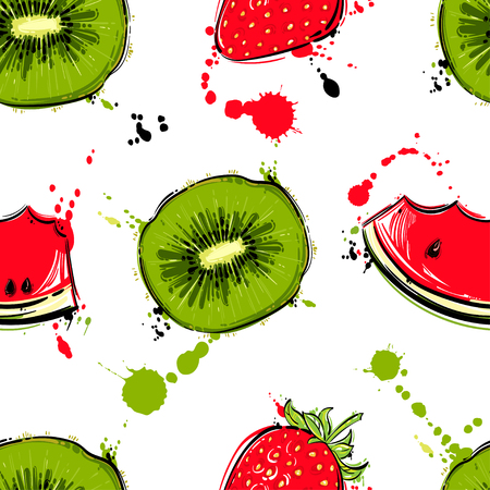 Vector abstract seamless pattern with kiwi, watermelon, strawberry. Background for the design of wallpaper, fabric and other.  Ilustração