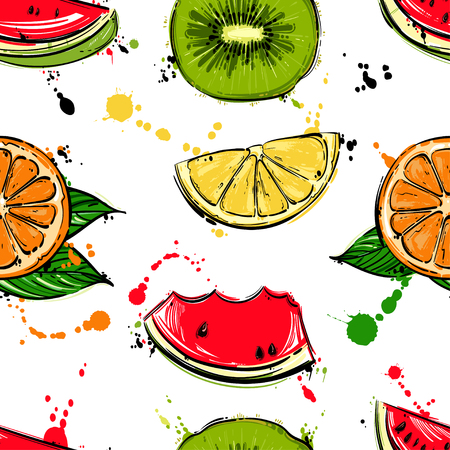 Vector abstract seamless pattern with kiwi, watermelon, orange, lemon. Background for the design of wallpaper, fabric and other.