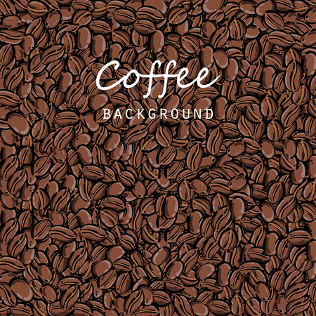 Abstract vector illustration with coffee beans. Coffee house, coffee background. Ilustração
