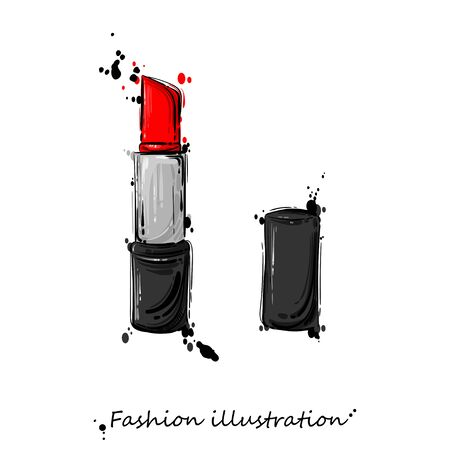 Vector abstract illustration of red lipstick. Fashion illustration. Imagens - 96618975